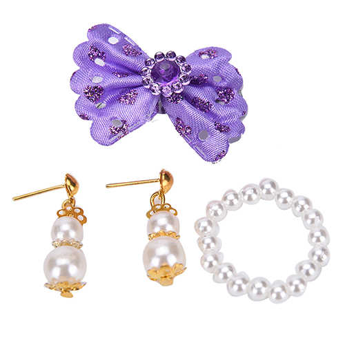 1 Set Bowknot Hair Clip Pearl Necklace Earrings Jewelry for For   Dolls Accessories Kids Best DIY Birthday Gift
