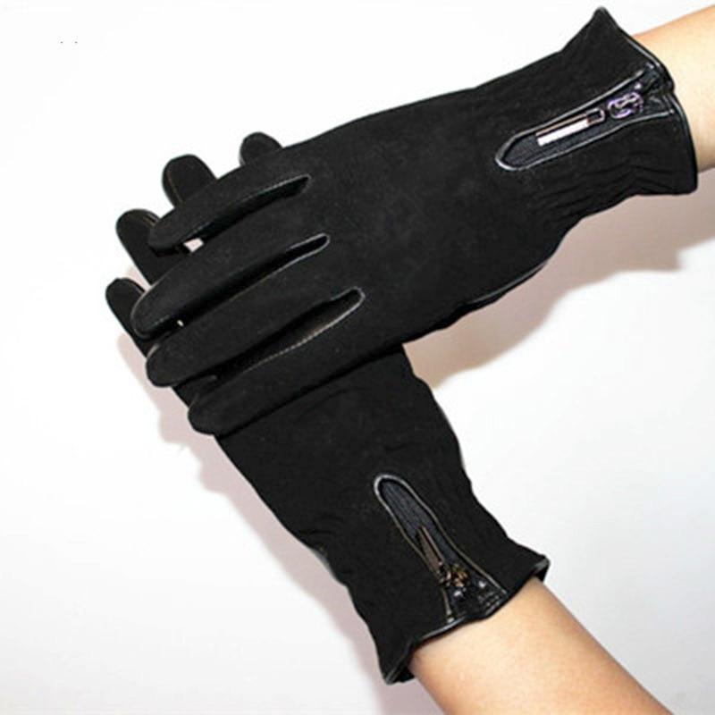 Image 3 - Sheepskin gloves women thickening autumn and winter warm new suede gloves fashion zipper style leather finger glovesWomens Gloves   -