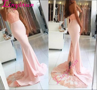 2018 Mermaid Halter Pink Formal Prom Dresses Top Lace Sleeveless vestido de festa longo African Backless Beads Evening Gowns
