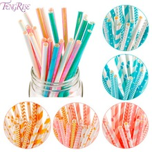 Fengrise Paper Straws Drinking Tubes Girl Boy Birthday Party Decor Bride to Be Wedding Bachelor Hen Accessory