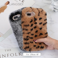 LANGSIDI For IPhone 6 Plus Case Handmade Leopard Plush Style Back Cover To Send 2PCS Phone