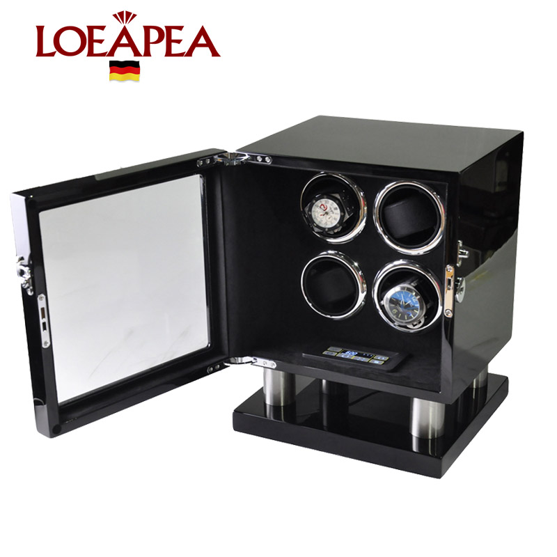 Automatic Watch Winder for 4 watches Handcraft Custom Watch Showcase Wooden Reel winder box wood with Mabuchi motor+Touch screen цена и фото