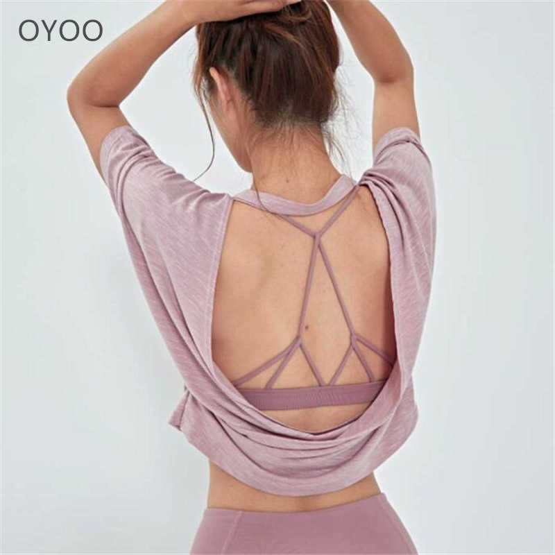 Oyoo Open Back Pink Yoga Top Loose Fit Backless Sport Shirt Black Workout Tops For Women Sexy Gym T Shirt