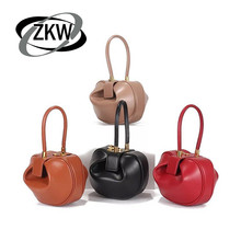 ZKW 2019 Genuin Leather Fashion Womens Mini Bags  Retro French Niche Design Portable Dumplings Lovely Wonton Hand Bag