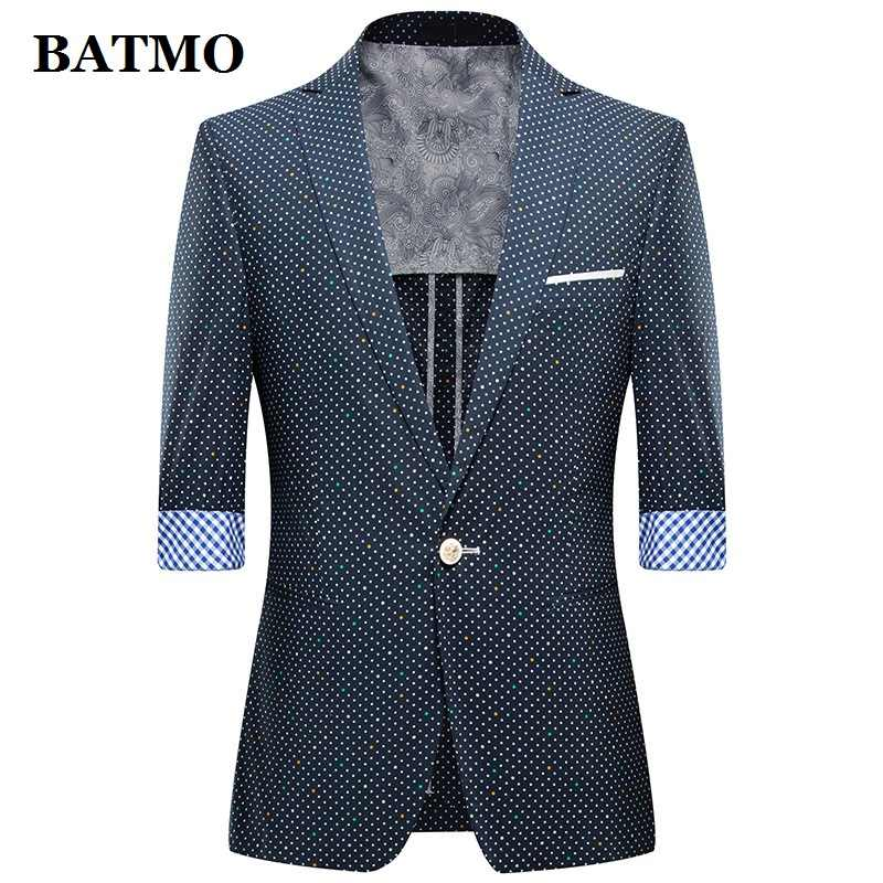 BATMO 2019 new arrival summer high quality point casual blazer men,men's summer jackets ,plus-size M-4XL 1301