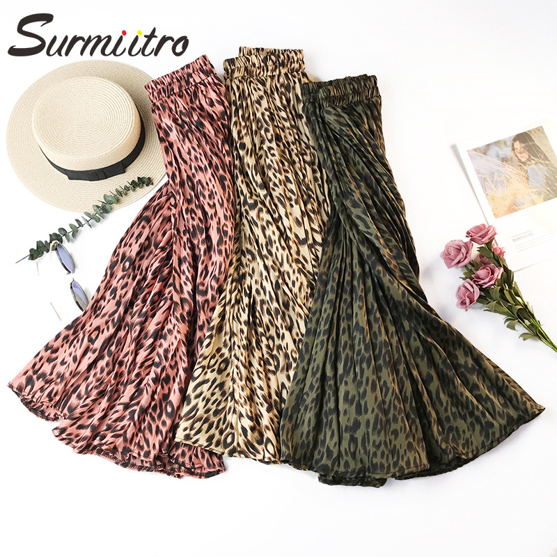 Surmiitro Leopard Print Pleated Midi Skirts Women Spring Autumn 2020 Korean Lady Pink Green High Waist A-line Long Skirt Female