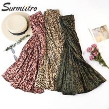 Surmiitro Leopard Print Pleated Midi Skirts Women Spring Autumn 2020 Korean Lady Pink Green High Waist A line Long Skirt Female