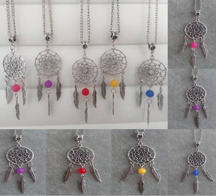 536d1f4bd37c Mode bijoux argent Vintage Dream Catcher   Feather   perle Charms  déclaration Choker collier court accessoires pendentif 10 PCS B491
