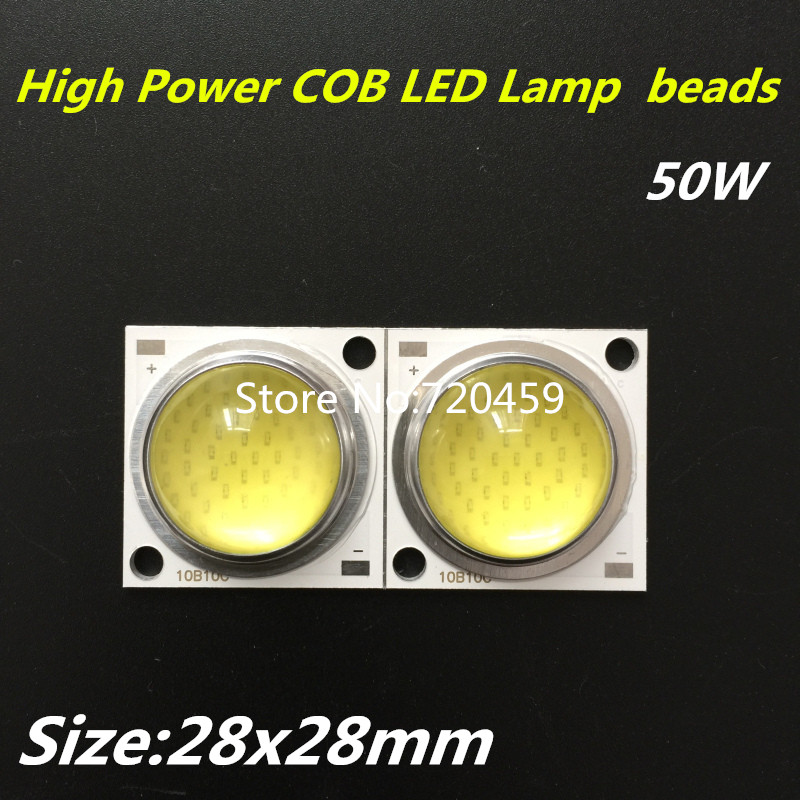5pcs 50W High Power COB LED Lamp beads Warm white cool white 1500mA with lens 30-34V 1500mA light chip or bead