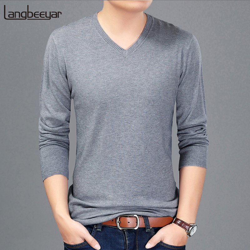 2019 New Autumn Winter Fashion Brand Clothing Pullover Mens Sweaters V Neck Sweater Slim Fit Solid Color Sweaters For Men