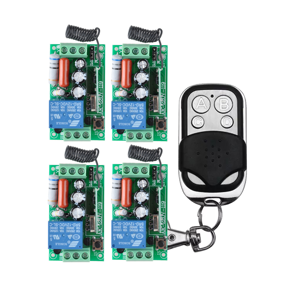 AC220V 110V 1CH RF Wireless Remote Control Switch system 220V relays receiver remote control transmitter ac 220v 1channel 10a rf wireless remote control switch system 4 receiver