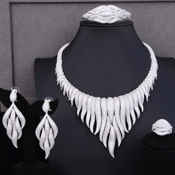 GODKI Super Luxury glacier Tassels 4PCS African Necklace Zircon Jewelry Sets For Women Wedding Indian Nigerian Party Jewelry Set 2