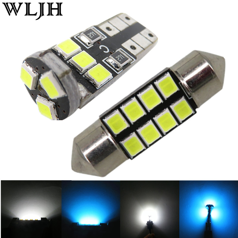 WLJH 6x Led T10 Wedge 31mm Festoon 2835 SMD Interior Dome Map License Plate Trunk Lights Led Package for Mazda 3 2012 2011 2010 22pcs car canbus led kit package 5630 smd white interior map dome glove box door license plate light for jaguar f type 2014 20xx