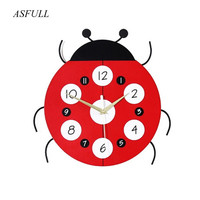 ASFULL3D real Ladybug wall clock wall sticker living room Child Room Wall Decorations Mute for watches Quartz wall clocks Gifts