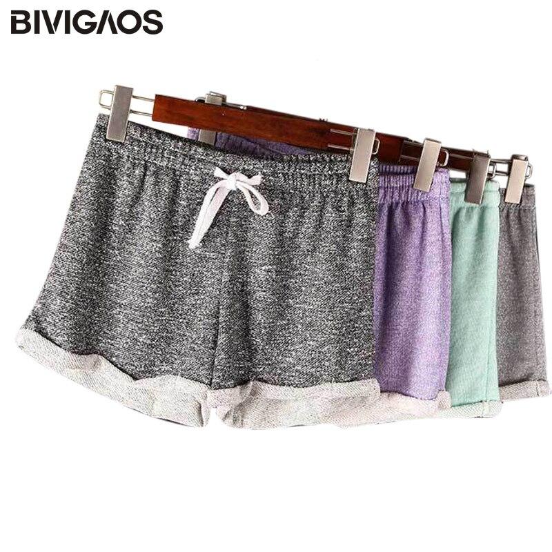 BIVIGAOS Womens Summer Casual Loose Shorts Drawstring Wide Leg Short Polyester Terry Shorts Feminino Home Comfy Shorts For Women
