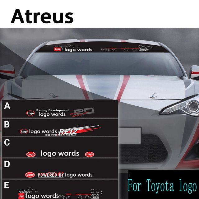 Atreus 1pcs car logo front window windshield decal reflective stickers for toyota corolla avensis rav4 yaris