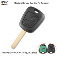 DANDKEY 10ps 2 Buttons 433MHZ With PCF7961 Chip Remote Car Key Control Keyless For Peugeot 307 Citroen C1 C3 VA2 Blade