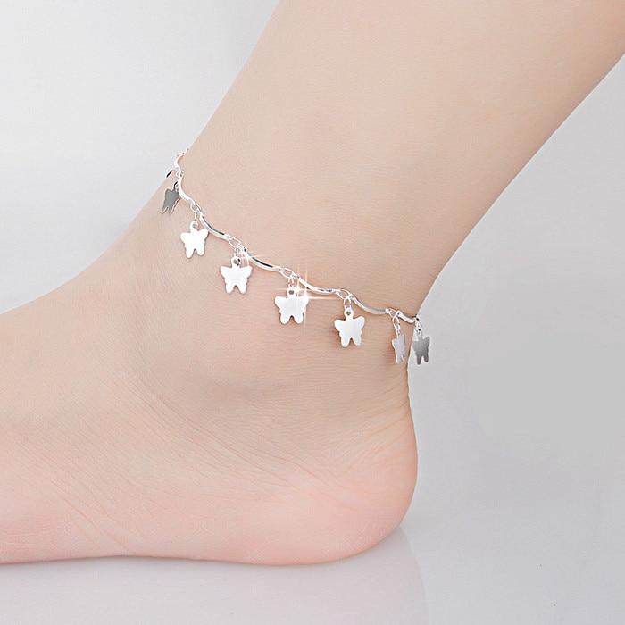 Female Ankle Chain Bracelet Korea Jewelry Cute Butterfly Genuine 925 Sterling Silver Chain Link Ankle Bracelet Girl's Gift