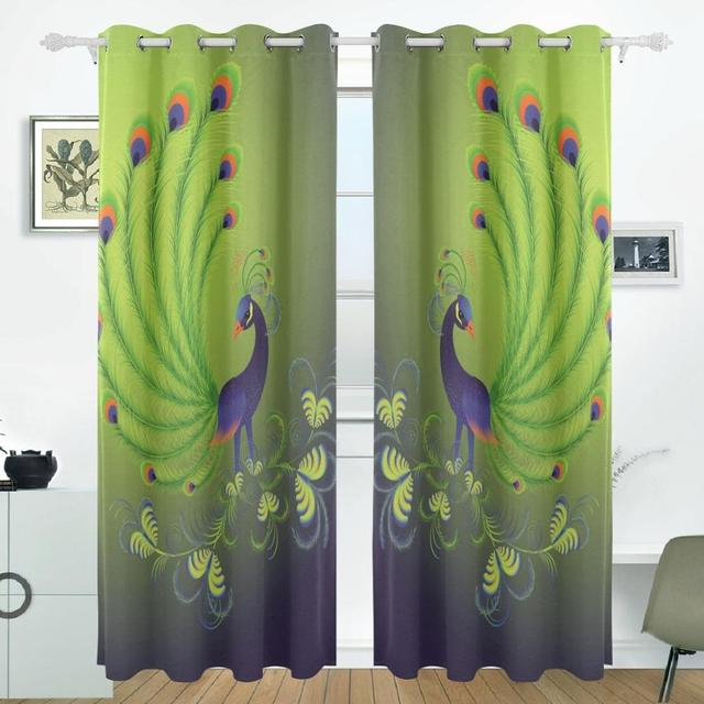 Peacock feathers curtains drapes panels darkening blackout grommet peacock feathers curtains drapes panels darkening blackout grommet room divider for patio window sliding glass door planetlyrics Gallery