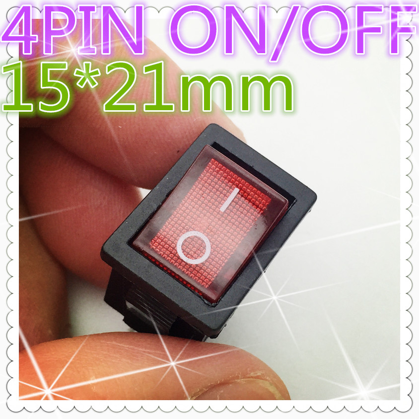 5pcs G121 LED Light 15*21mm SPST 4PIN ON/OFF Boat Rocker Switch 6A/250V 10A/125V Car Dash Dashboard Truck RV ATV Home Sell Loss mylb 10pcsx ac 3a 250v 6a 125v on off i o spst 2 pin snap in round boat rocker switch