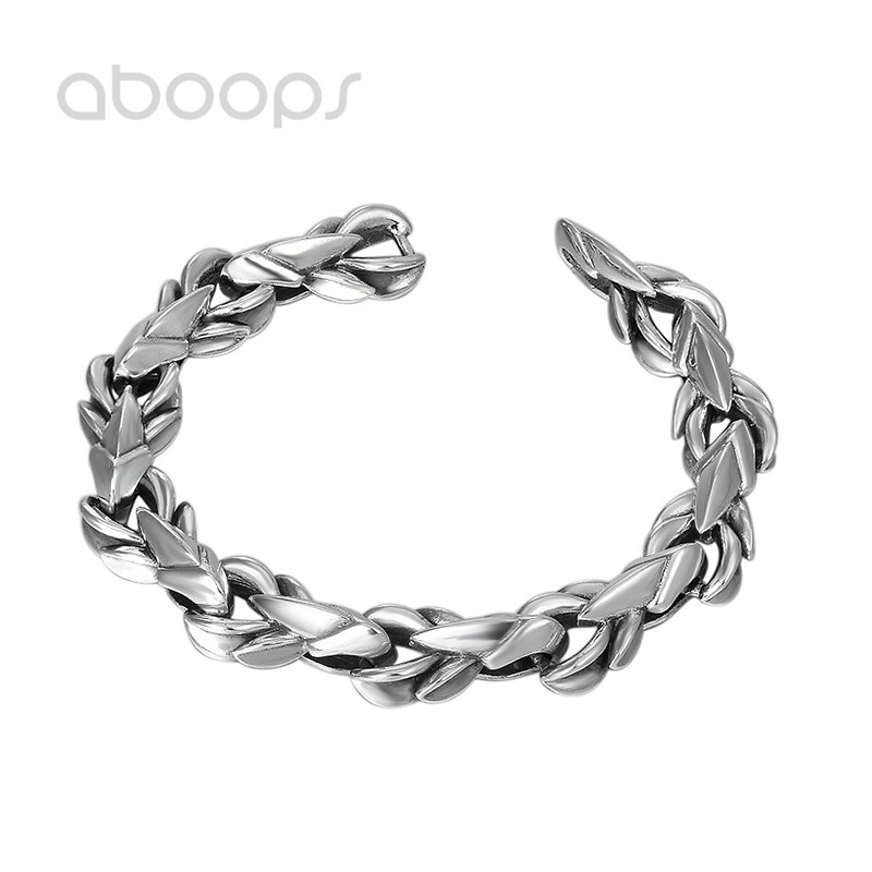 Vintage Thick 925 Sterling Silver Link Bracelet for Men Boys 21cm Free Shipping