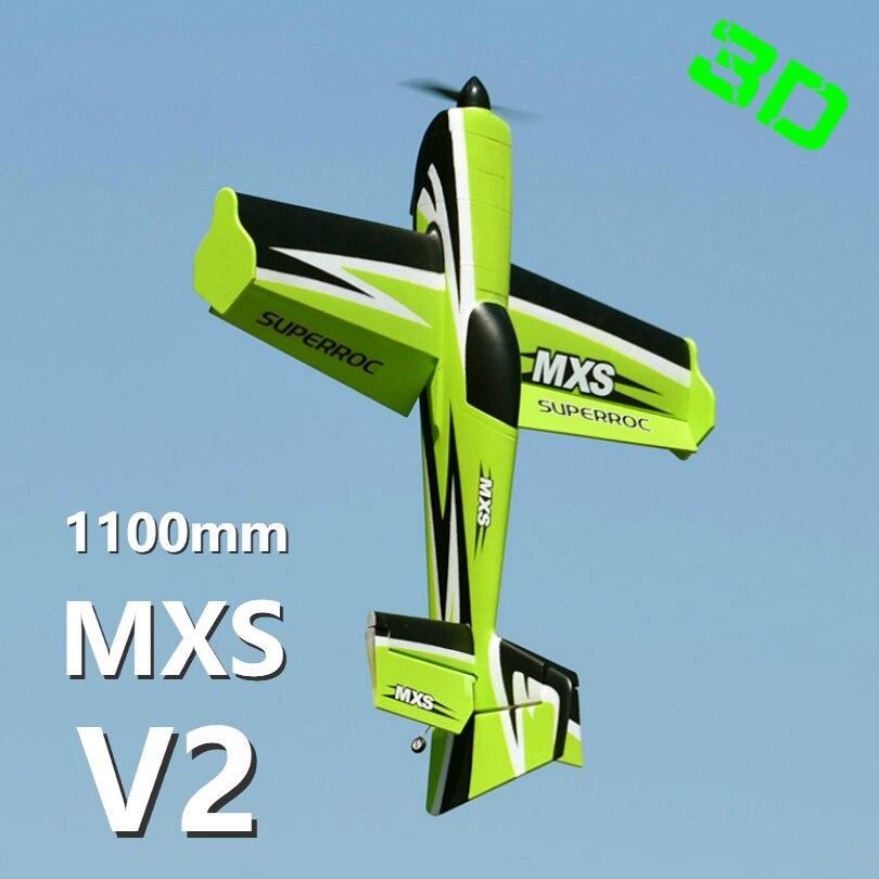 FMS 1100 MM 1.1 M MXS V2 vert 4CH 3 S Durable EPO voltige 3D PNP RC avion radiocommande passe-temps modèle avion avion sport