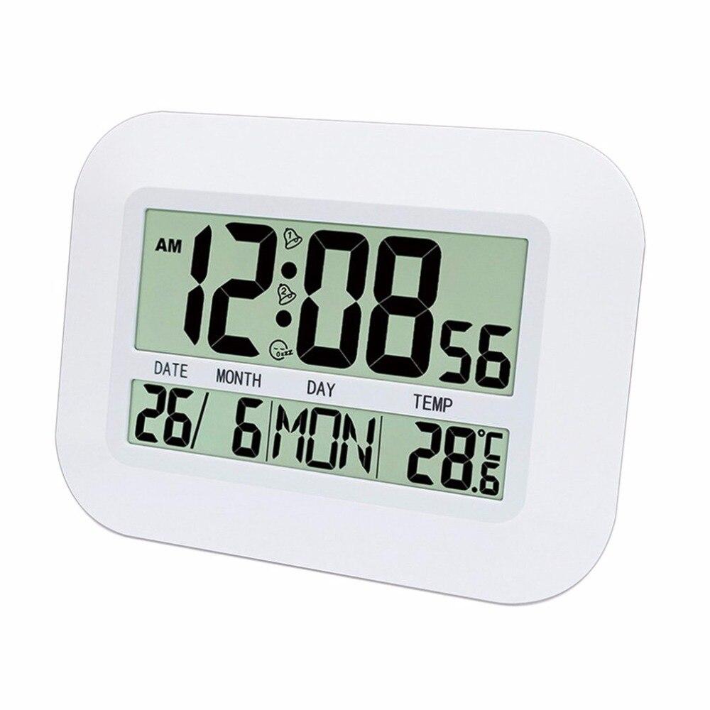 Household Use Large LCD Display Digital Calendar Simple Living-room Silent Hanging Clock Desktop Alarm Clock
