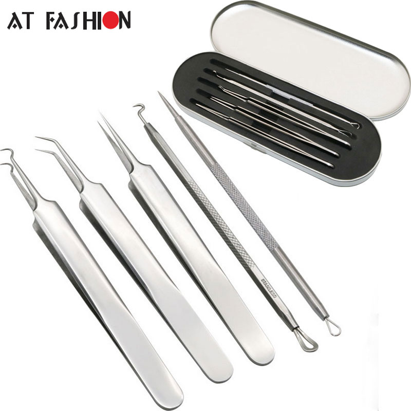 5PCS set Blackhead Blemish Acne Pimple Extractor Remover Tool Set Face Skin Care blackhead tweezer Stainless