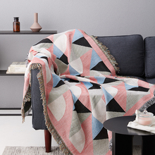 Pink Throw Blanket for Couch Knitted Decoration Sofa Plaid Bed Geometric Travel Single