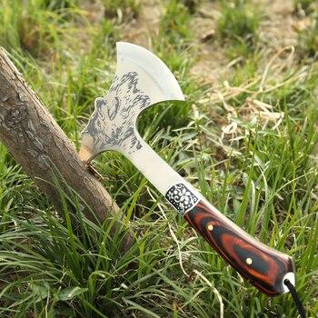 Al aire libre Tomahawk hacha multifuncional Lobo cuchillo supervivencia  modelo montaña Camping hacha con mango de madera cf40b9dd273