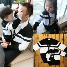 Parent-child spring tendrils 2016 black and white stripe cardigan outerwear mother and son child sweater
