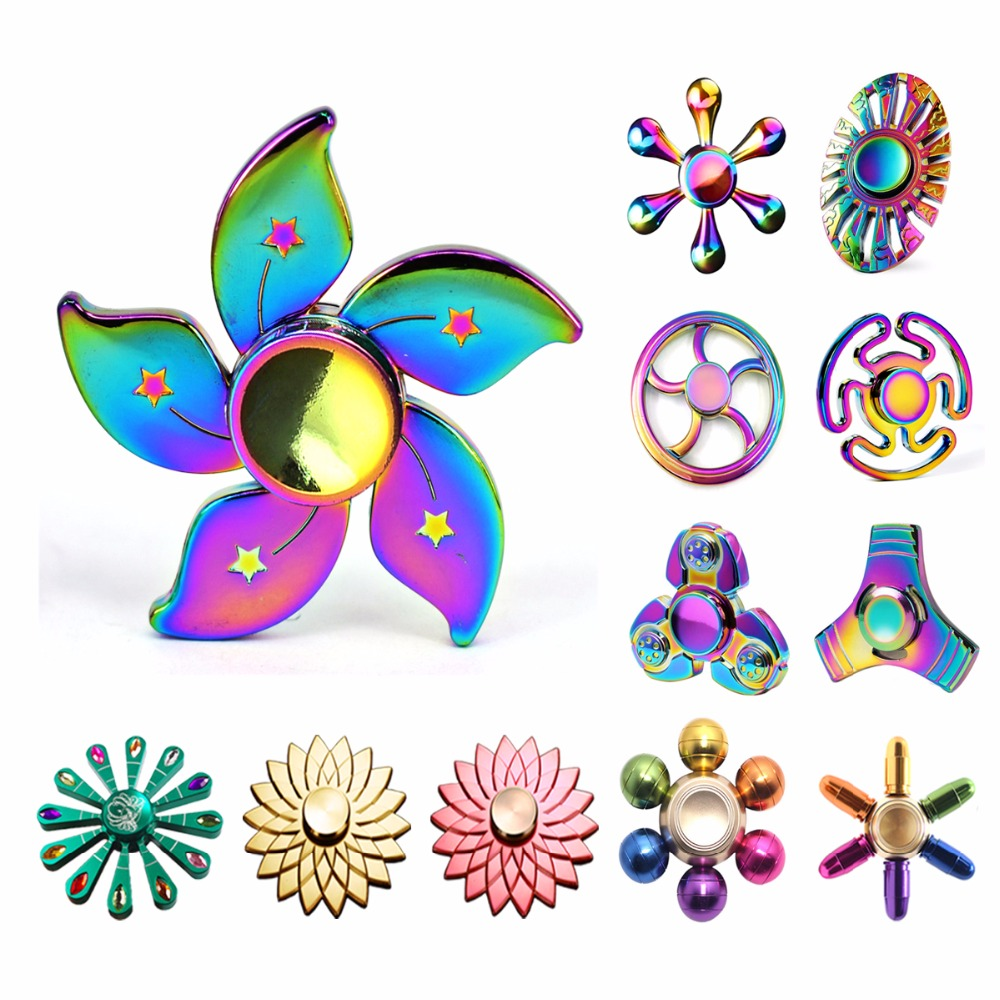 Rainbow Metal Fidget Spinner Newest Colorful Hand Finger Spiner Figet Spinner Gyro Adult Stress Relieve Child Relax Toy Kid Gift metal stress relief spinner toy hand finger gyro