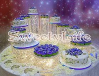 11pcs/set top quality Crystal transparent acrylic cake stand Romantic wedding decoration luxurious Party cake stand