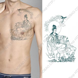human body diagram tattoo temporary tattoo sticker waterproof large male men buddha indian  temporary tattoo sticker waterproof