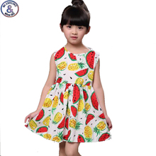 Mr 1991 Summer Girl Dress Sleeveless Watermelon pineapple printed Girl princess dress 3 10Y Casual Vestido