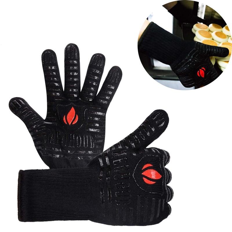 Gants de four micro-ondes gants de cuisson outils de pâtisserie Super résistant à la chaleur outils de cuisine Silicone coton tissu BBQ gants 500 degrés