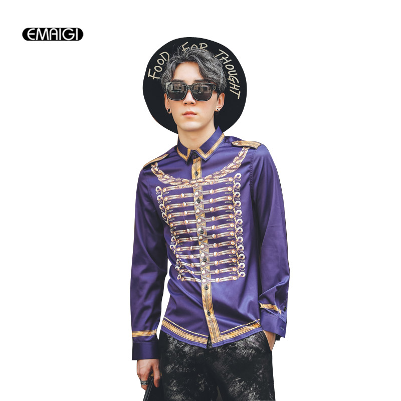 2017 Autumn New Men Fashion Printing Black Red Purple Casual Shirt Male Long Sleeve Slim Fit Dress Shirts