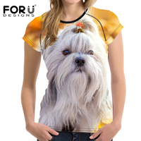FORUDESIGNS Mode Femmes D'été T Chemises Mignon 3D Animal Shih Tzu chien Impression Femelle T-shirts À Manches Courtes O Neck Top Tee Vêtements