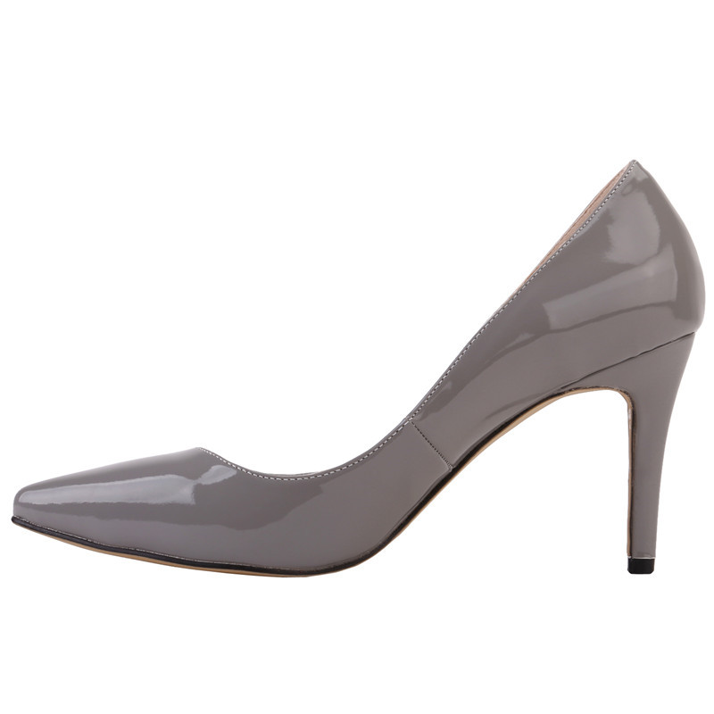LOSLANDIFEN Women Patent Leather Pumps 8CM High Heels Pointed Toe Grey Shoes 2018 Slip-on Office Lady Pumps suru slingback pumps women real leather 8cm high heels party shoes pointed toe back trip sandals exegang office lady shoes black