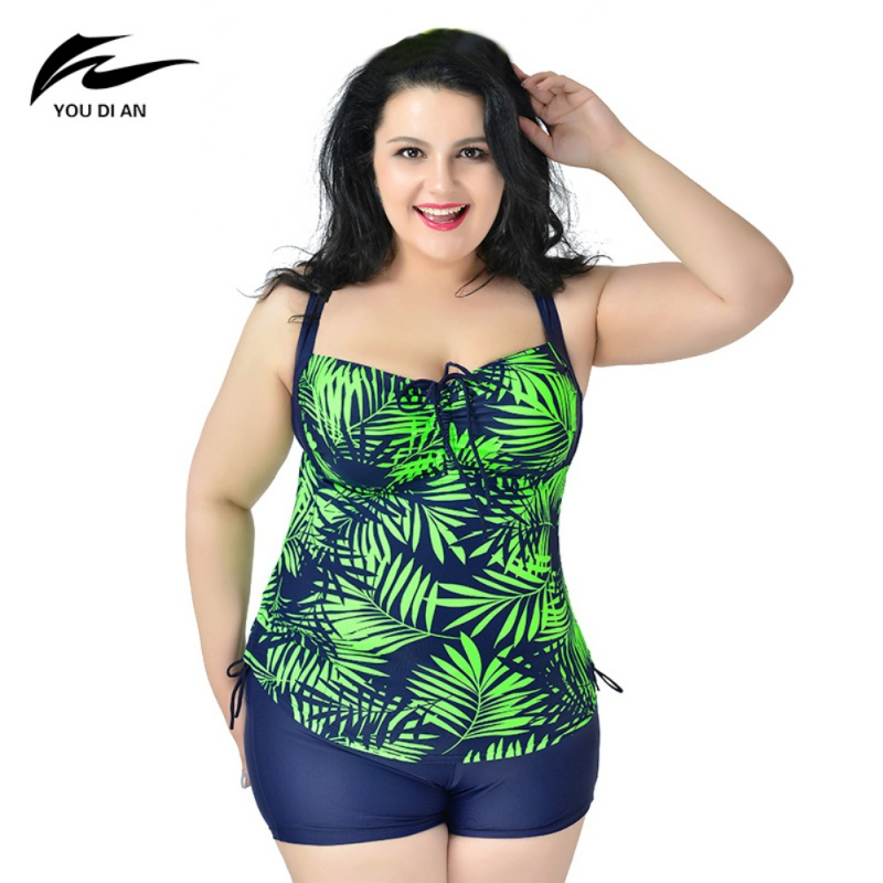 2018 New Female Leaf Print Beach Bikini Set Sexy Swimwear 2 Piece Swimsuit For Women Dress Bathing Suit plus Size 6XL