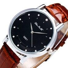 Простой масштаб Сплав серебра Циферблат 20 мм коричневый кожаный ремешок Для мужчин пара Бизнес кварцевые часы черный наручные Для мужчин S часы Saat C438