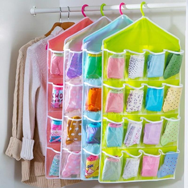 16 Grid Underwear Bras Socks Ties Shoes Storage Bag Door Wall Hanging Closet Organizer bag cajas organizadora
