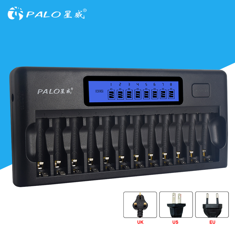 Fast Smart 12 Slots NIMH NICD AA / AAA Smart LCD Battery Charger for 1~12 pcs AA or AAA NiMH NICD rechargeable batteries tmmo 1 5v aaa carbon zinc batteries 40 pcs