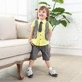 Мальчик галстук костюм моды дети джентльмен костюм мальчиков с коротким рукавом lapal плед жилет одежда устанавливает рубашка и короткие костюмы из двух частей