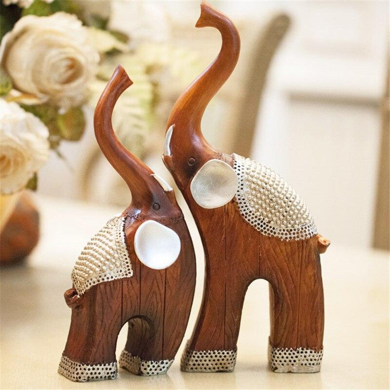 Décor à la maison amoureux de la résine mère-enfant comme la technologie du Grain de bois maison cadeau une paire de Figurine en résine d'éléphant Animal L3295