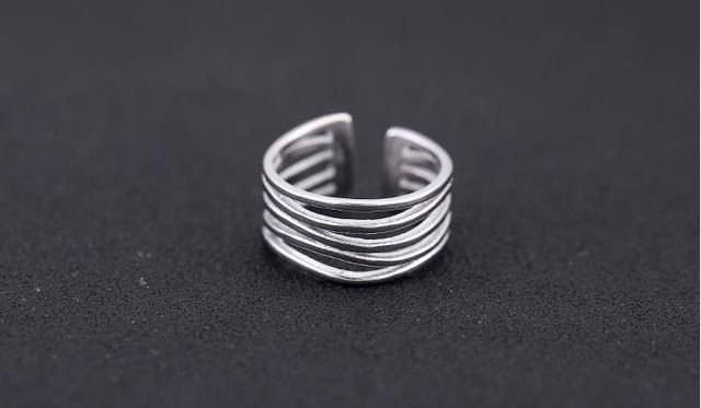 Wholesale Wedding Jewelry 925 Sterling Silver Large Rings For Women Punk Style Luxury Adjustable Size Statement Ring 1