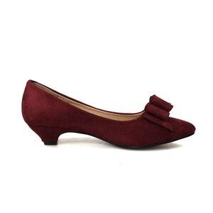 Image 2 - Женские туфли лодочки Phoentin с узлом бабочкой, на каблуке шпильке, винного цвета, с острым носком, без застежки, из искусственной кожи, FT188, весна осень