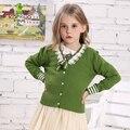 KAMIWA 2016 Мода Девочек-Подростков Вязаные Свитера Кружева Бантом Sweatercoats Повседневная Верхняя Одежда Детская Одежда детская Одежда