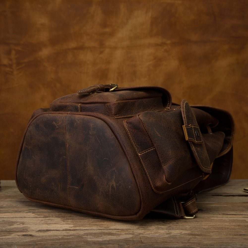 Quality Leather Design Men Travel Casual Backpack Daypack Fashion Knapsack College School Student Laptop Bag Male 9950-d