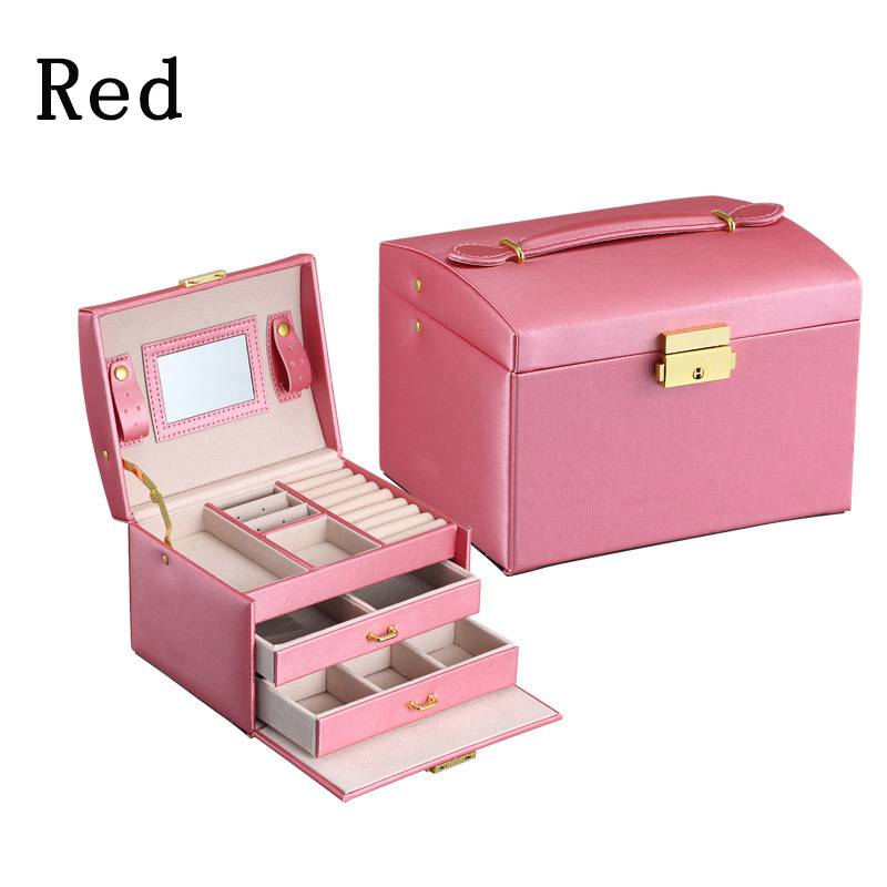 High Quality PU Leather Three layer double drawer jewelry box Jewelry Display Gift Box For Storage Pink